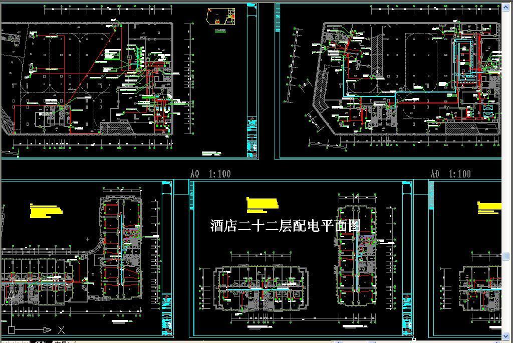 dwg)cad电气cad消防建筑电气弱电高低压配电系统酒店强电系统图暖通
