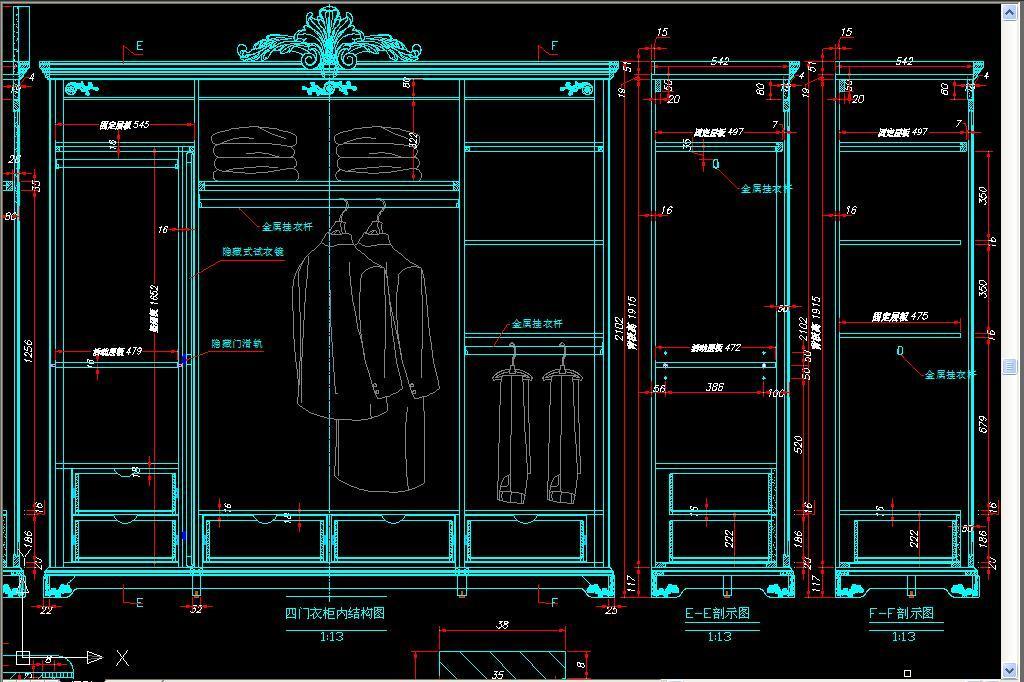 图纸衣柜内部结构图衣柜房间cad立面图服装店cad立面图大堂cad立面图
