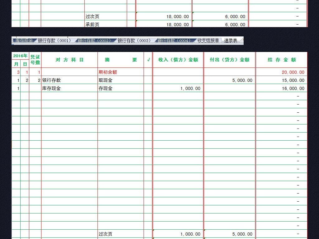 银行现金日记账存款表格模板收支结报单图片下载xlsx素材 财务报表图片