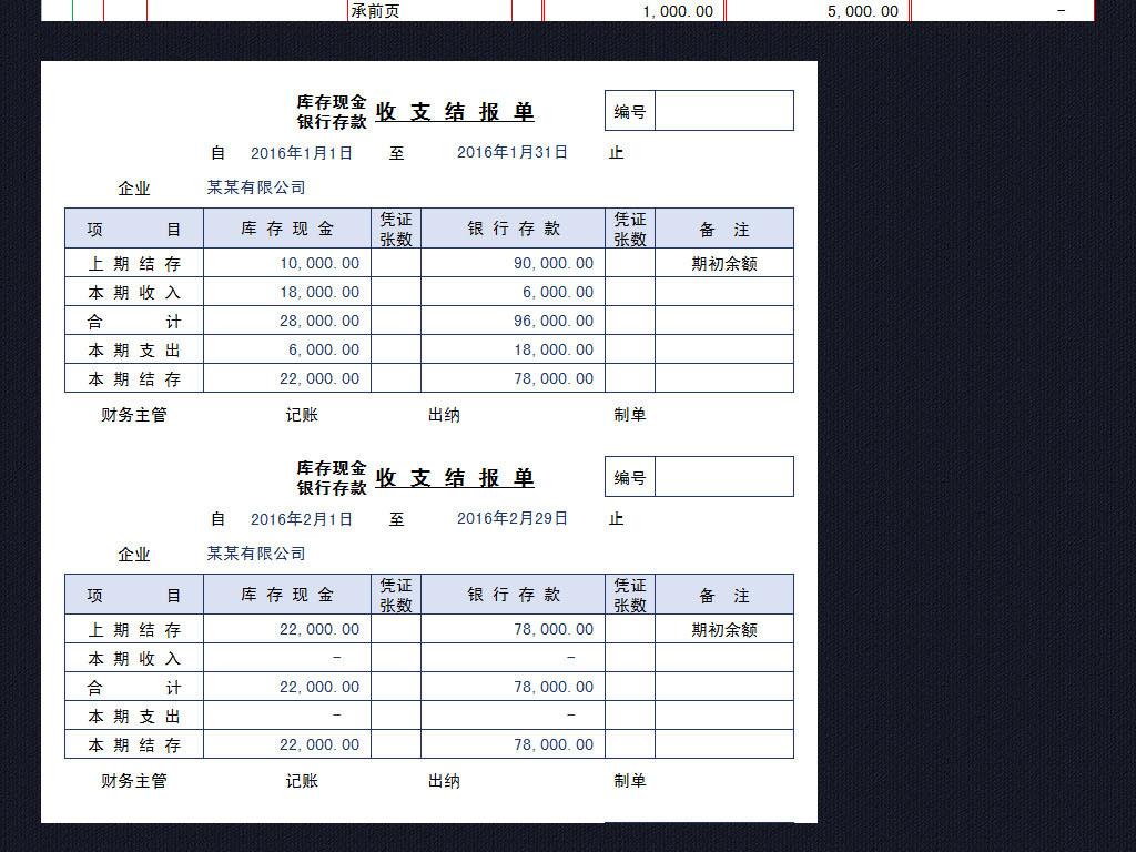 银行现金日记账存款表格模板收支结报单图片