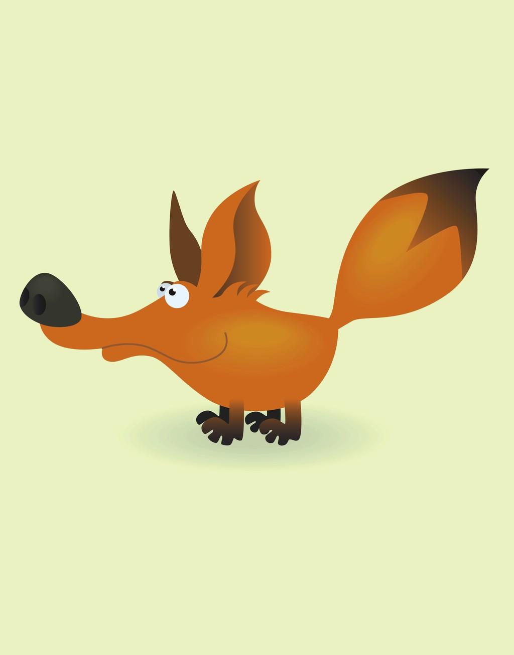 原创设计手绘动物简笔插画卡通动物狐狸