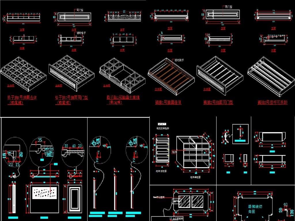 衣柜三视图衣柜结构图衣柜工艺图cad衣柜图库图库衣柜设计素材cad衣柜