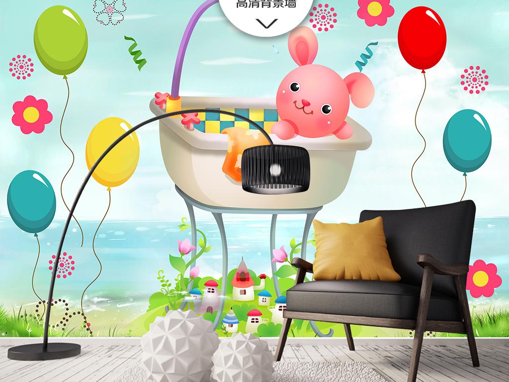 卡通气球可爱小兔子儿童房背景墙壁纸设计