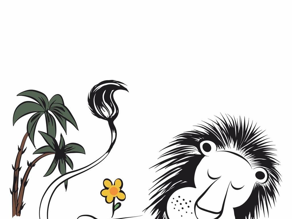 ai)手绘卡通图案狮子ai热带植物图案手绘儿童画素材t恤图案ai源文件