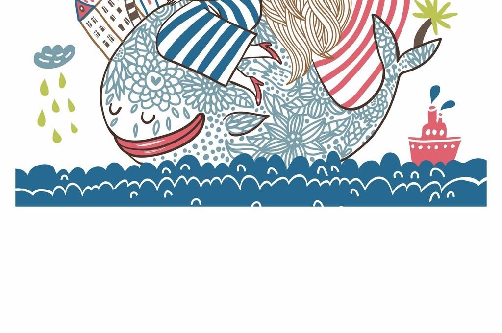 手绘插画卡通人物海藻鱼类雨云矢量图案印花