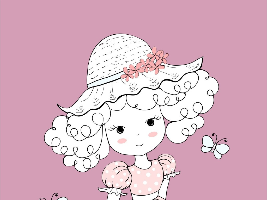 时尚小女孩卡通人物包包手机壳印花图案