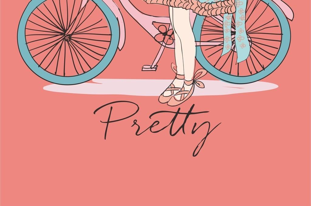 卡通女孩自行车花卉矢量素材t恤图案印花