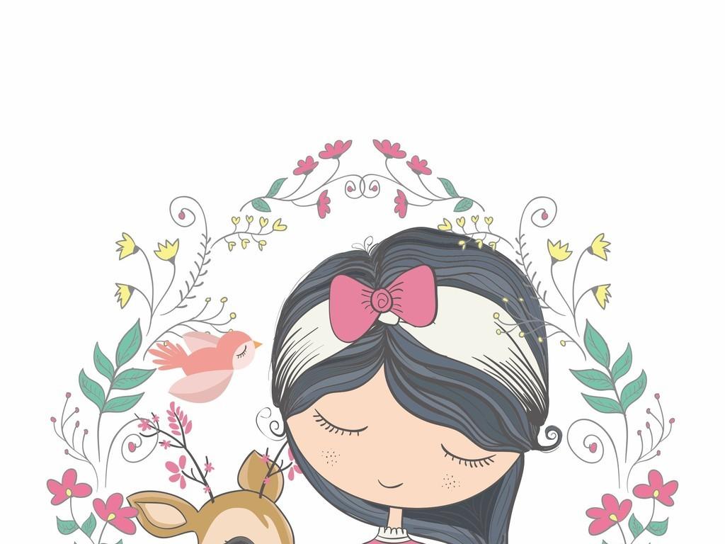 ai)飞鸟ai卡通人物小孩图案植物花卉图案印花ait恤