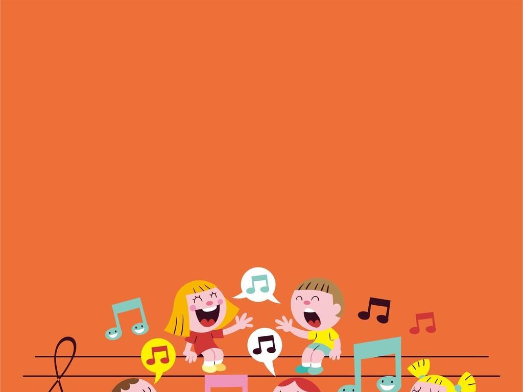 卡通小孩音符乐器图案童装图案儿童画矢量图
