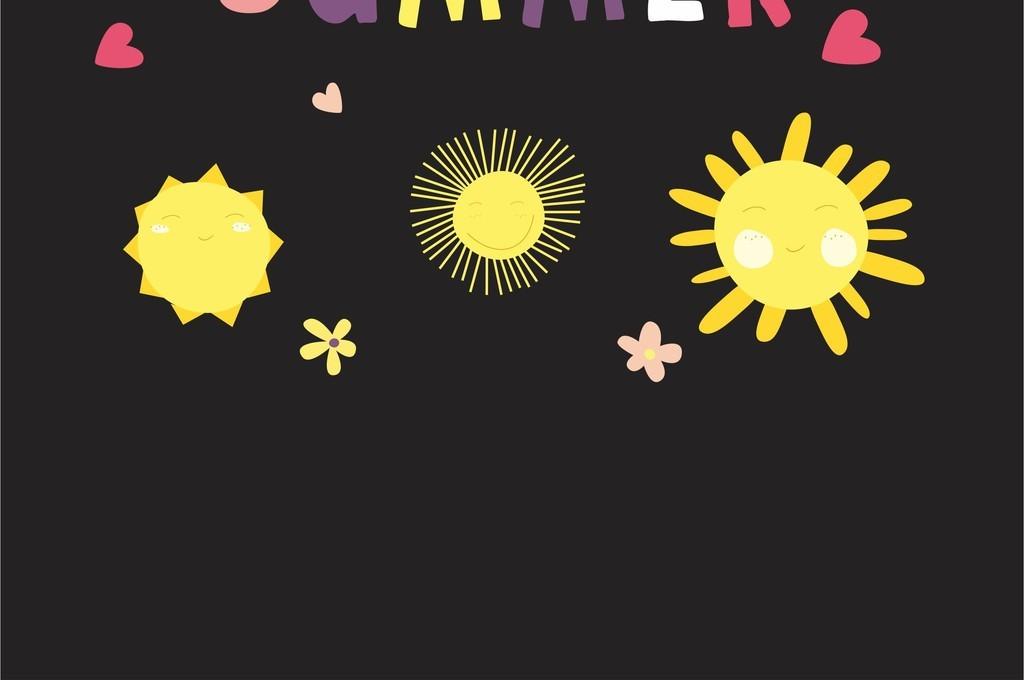 > 艺术字太阳心形图案印花儿童画卡通矢量图  版权图片 设计师 : mail