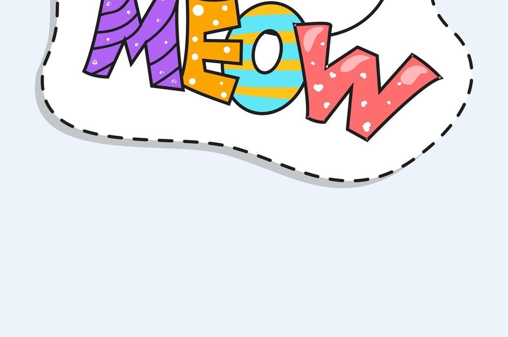 卡通猫艺术字手绘儿童画图案t恤矢量图案