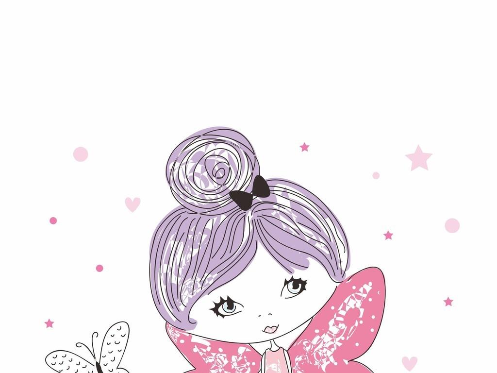 时尚卡通小女孩手机壳书包印花图案