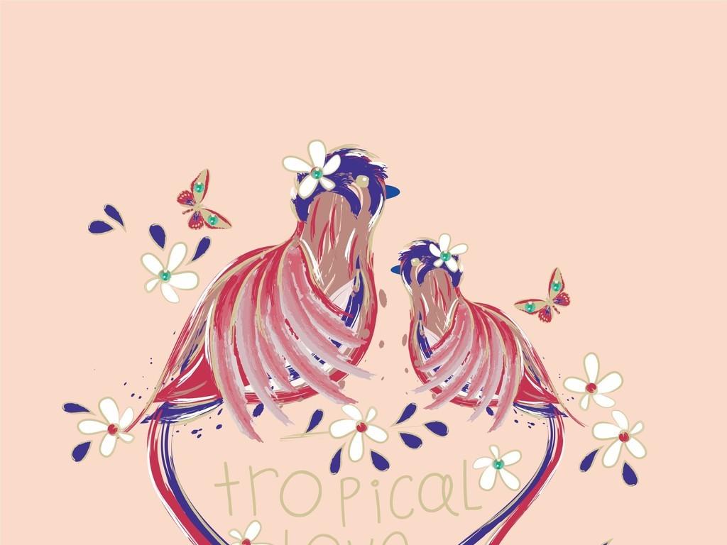 植物花卉图案动物图案鸟类蝴蝶(图片编号:16226184)图片