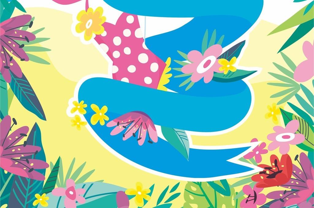 花卉图案卡通图案卡通动物蛇印花图案素材