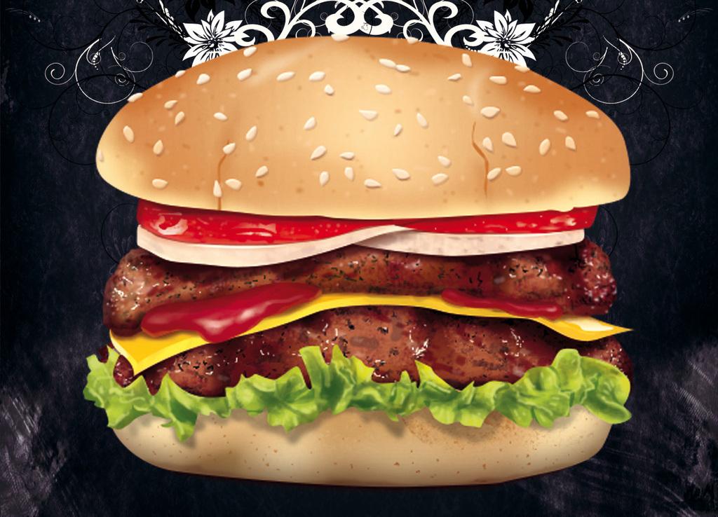 黑板粉笔时尚手绘汉堡包美食套餐促销海报