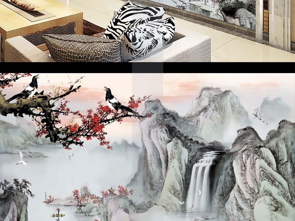 新中式喜上眉梢水墨山水画电视背景墙图片
