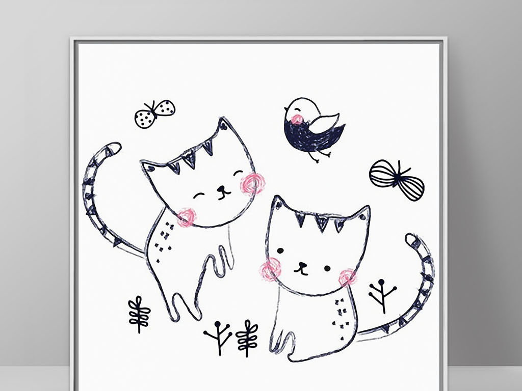 两只小猫咪简笔画北欧手绘可爱装饰无框画