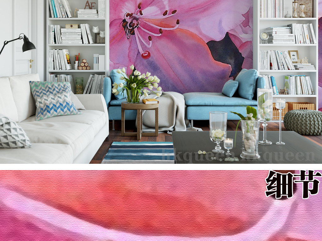百合花浪漫温馨手绘艺术现代简约背景墙