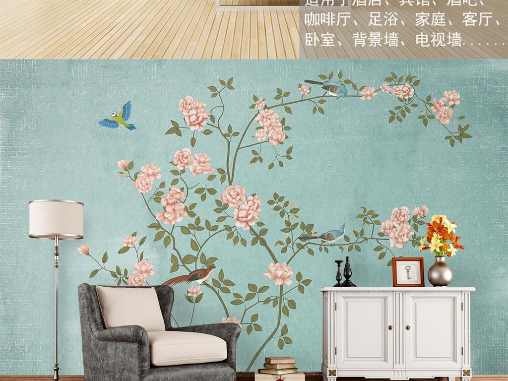 新中式花鸟装饰画背景墙