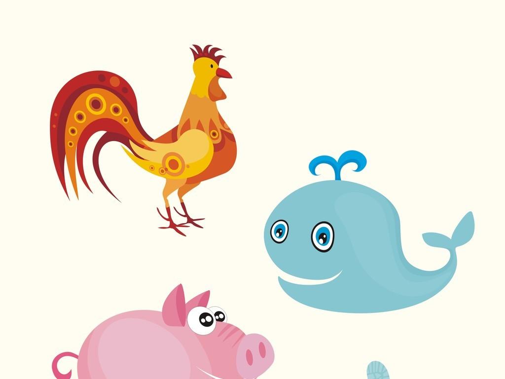 卡通动物矢量图鸡海豚猪