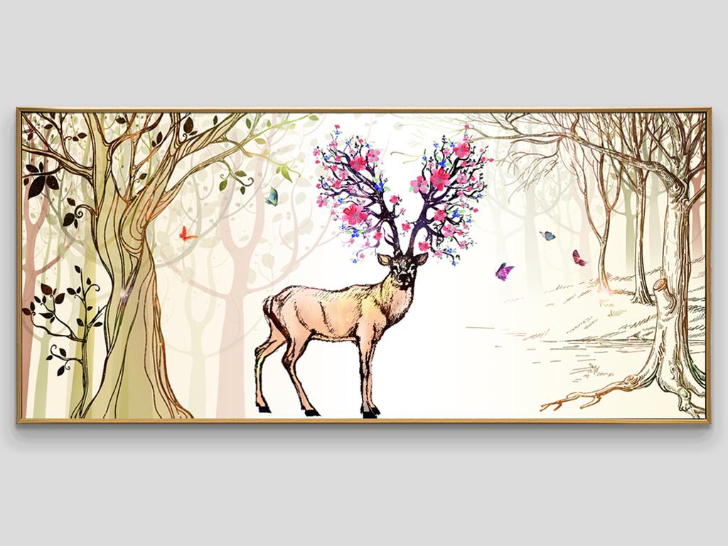北欧时尚手绘森林麋鹿高档无框画
