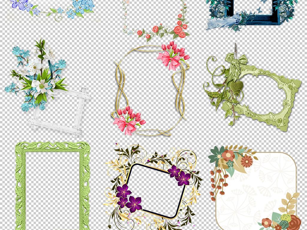 手绘花纹树叶玫瑰花边框文本框创意边框设计边框元素