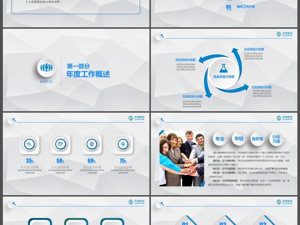 中国移动总结报告PPT模板