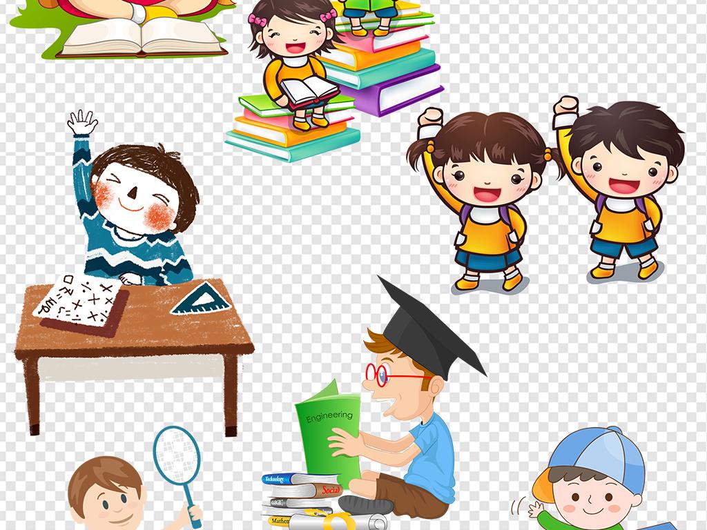 女学生开学季校园幼儿园卡通人物图片背书包的小学生