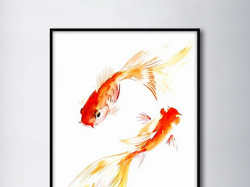 两只金鱼新中式简约手绘水墨现代时尚装饰画 位图, rgb格式高清大图