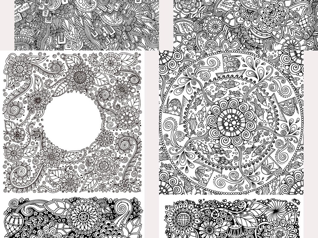 欧式古典黑白花纹图案花砖