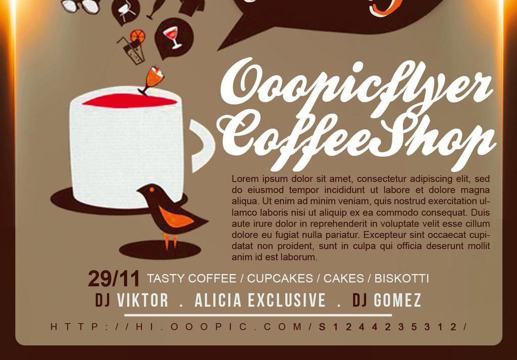 时尚现代创意手绘休闲咖啡茶餐厅宣传海报