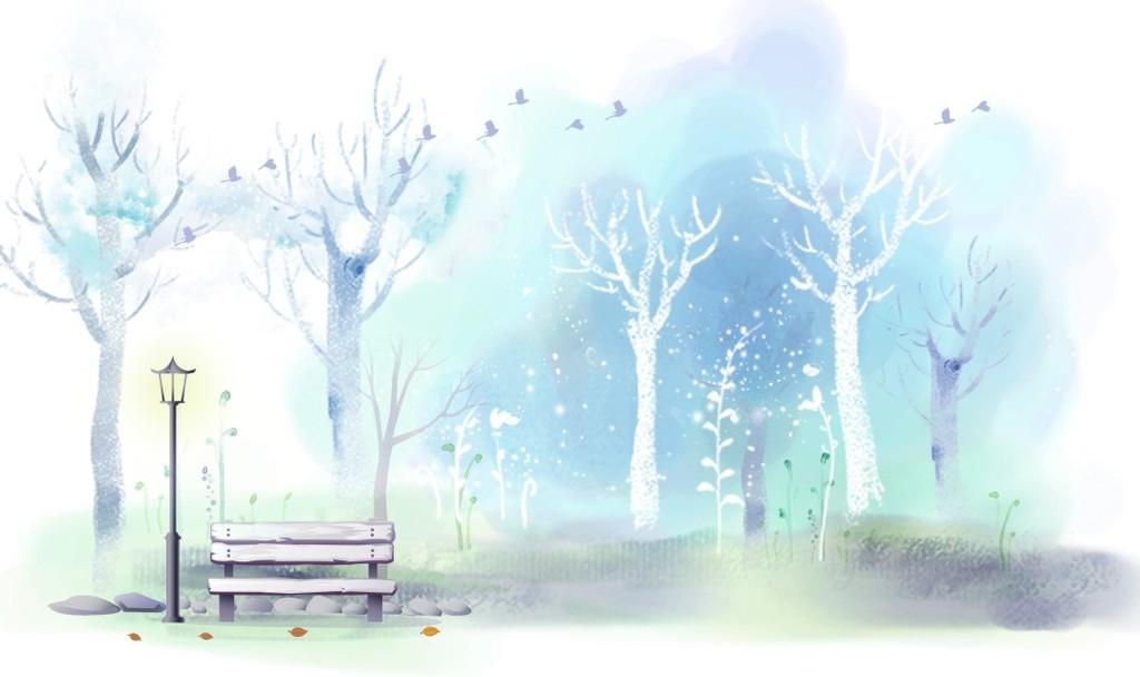 北欧抽象森林树干泼墨背景墙装饰画