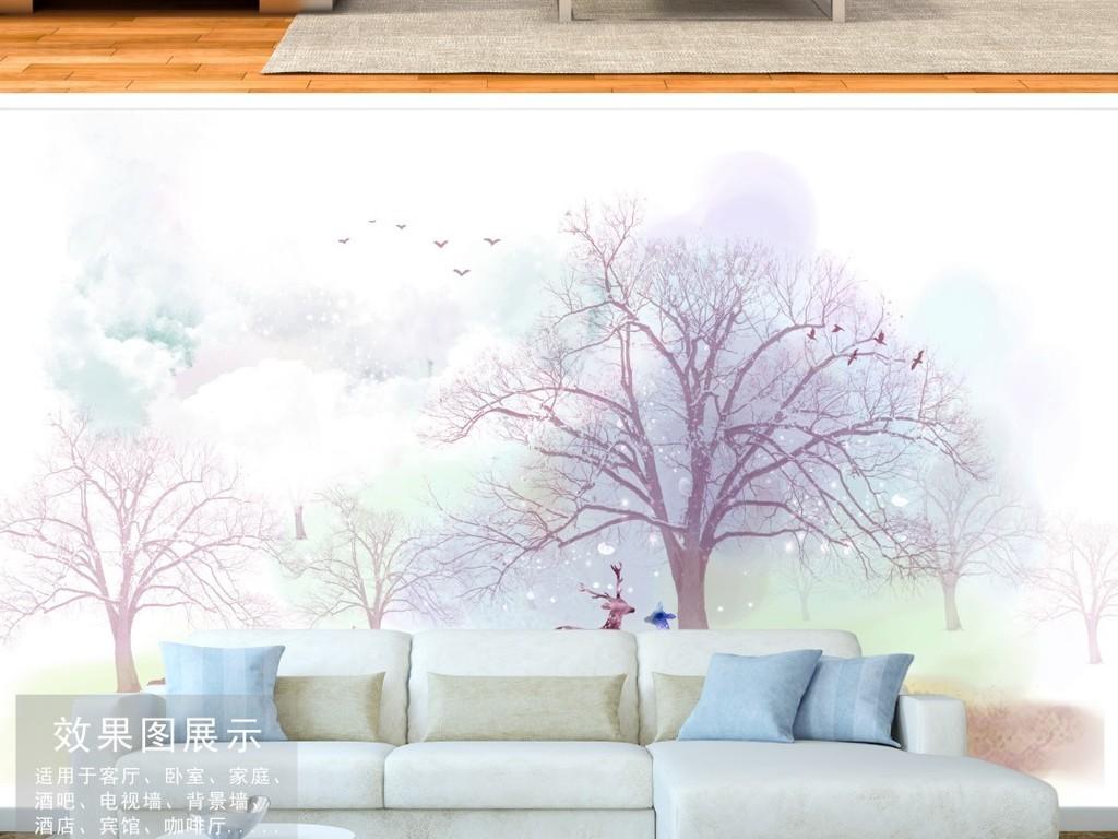北欧梦幻森林抽象麋鹿树干背景墙装饰画