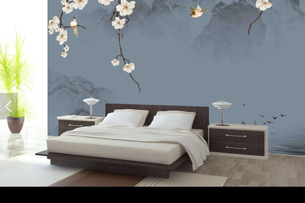 中式背景墙玉兰花樱花花树飞鸟渔船中式中式背景迎客松壁画风景壁画客