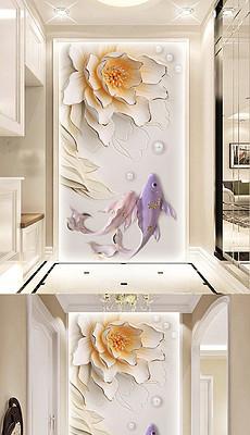 新中式浮雕室内立体花卉富贵玄关背景墙