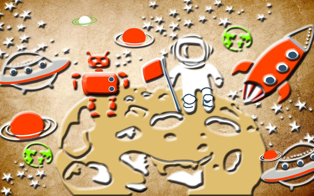 卡通儿童太空宇航员飞船火箭月球