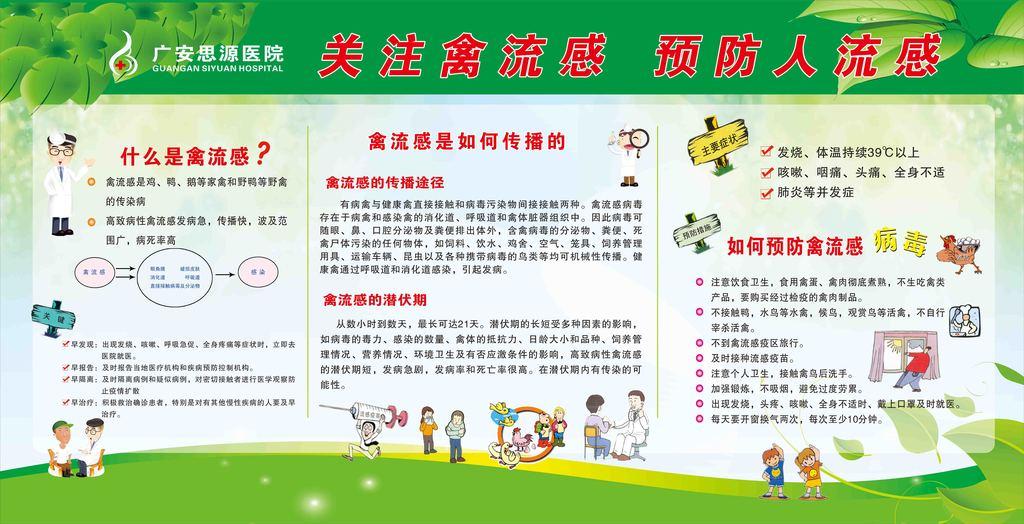 关注禽流感预防人流感宣传栏 2.25X1.15米 喷绘图片