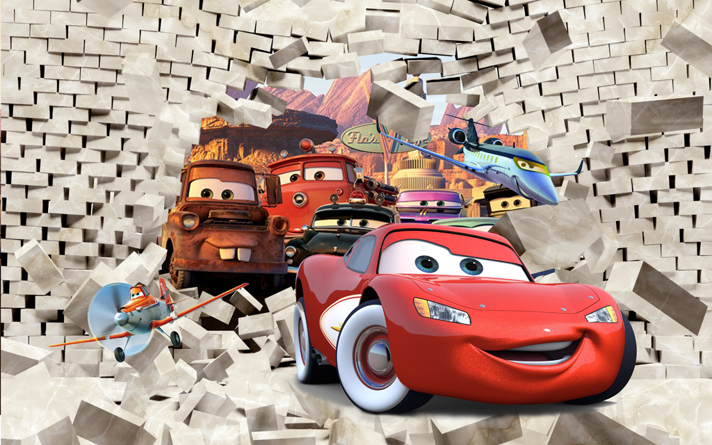 儿童卡通汽车总动员飞机总动员砖墙