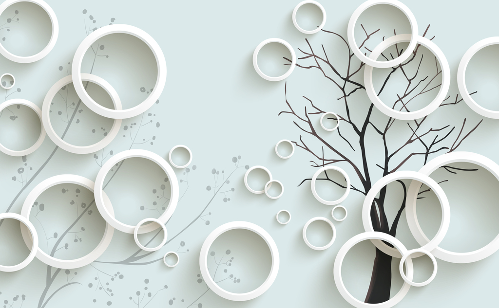 3d圆圈手绘树枝电视背景墙