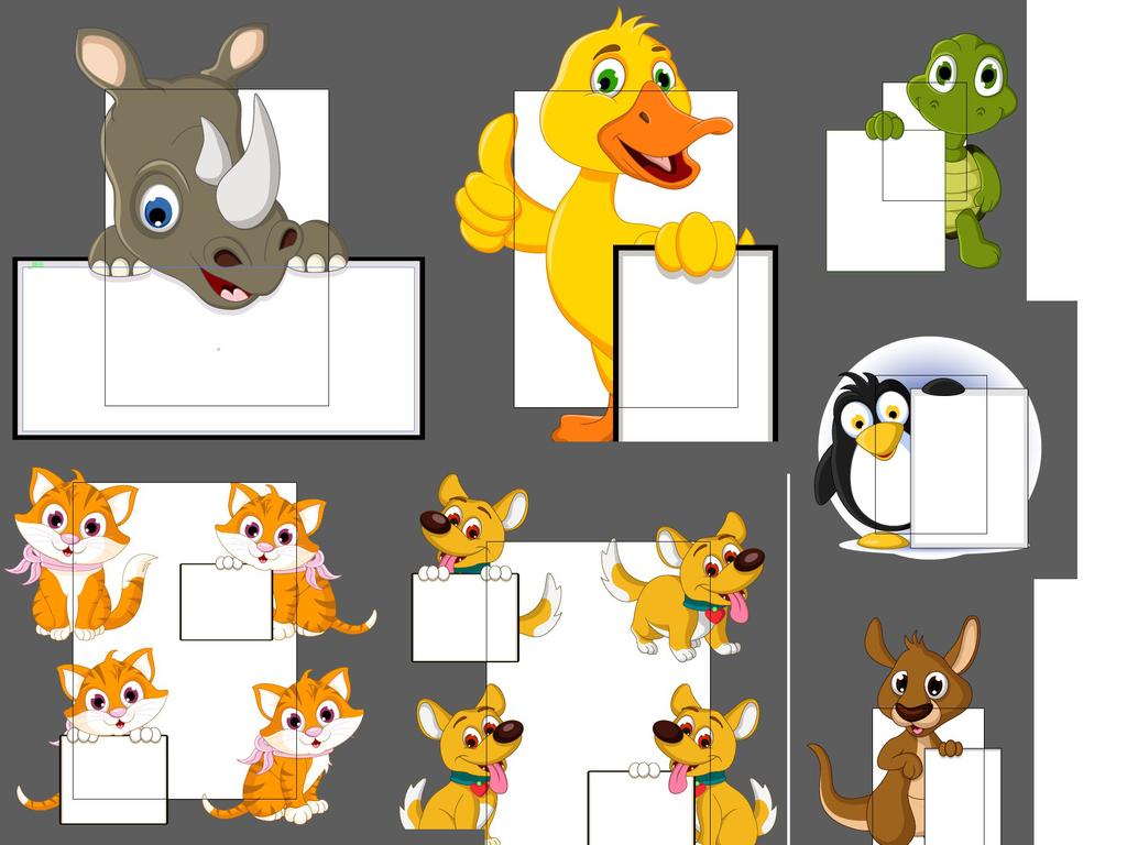 乌龟矢量图动物园动物合影可爱卡通卡通形象可爱动物