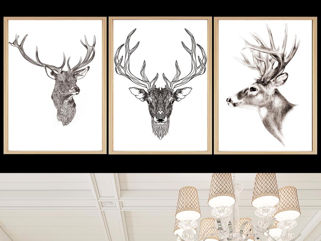 现代北欧麋鹿马鹿手绘装饰画