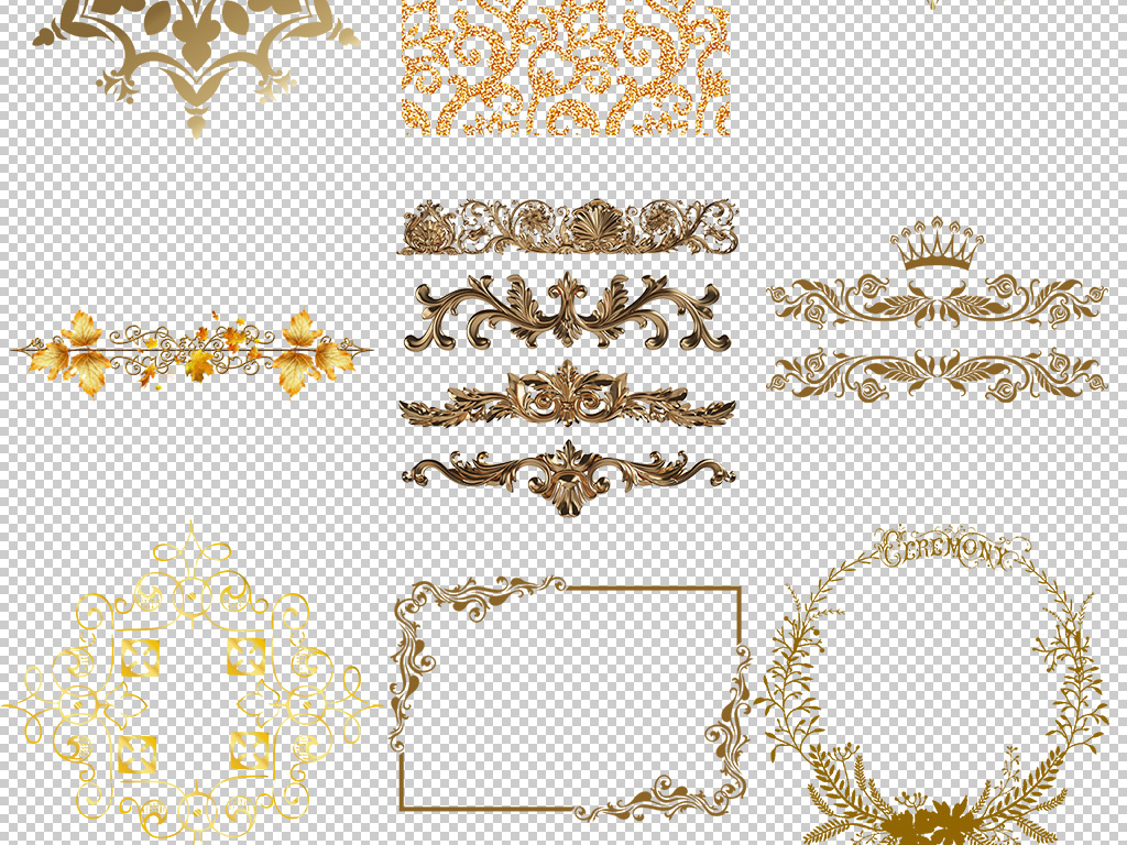 新款欧式创意古典花纹边框背景png素材