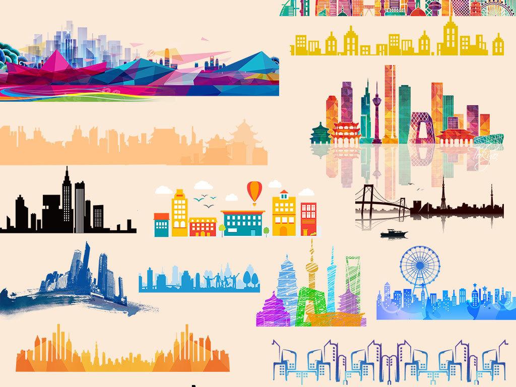 手绘立体城市建筑房子设计素材
