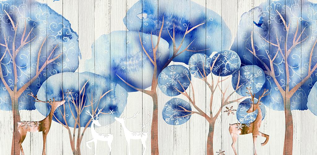 背景墙|装饰画 电视背景墙 现代简约电视背景墙 > 手绘水彩树林麋鹿