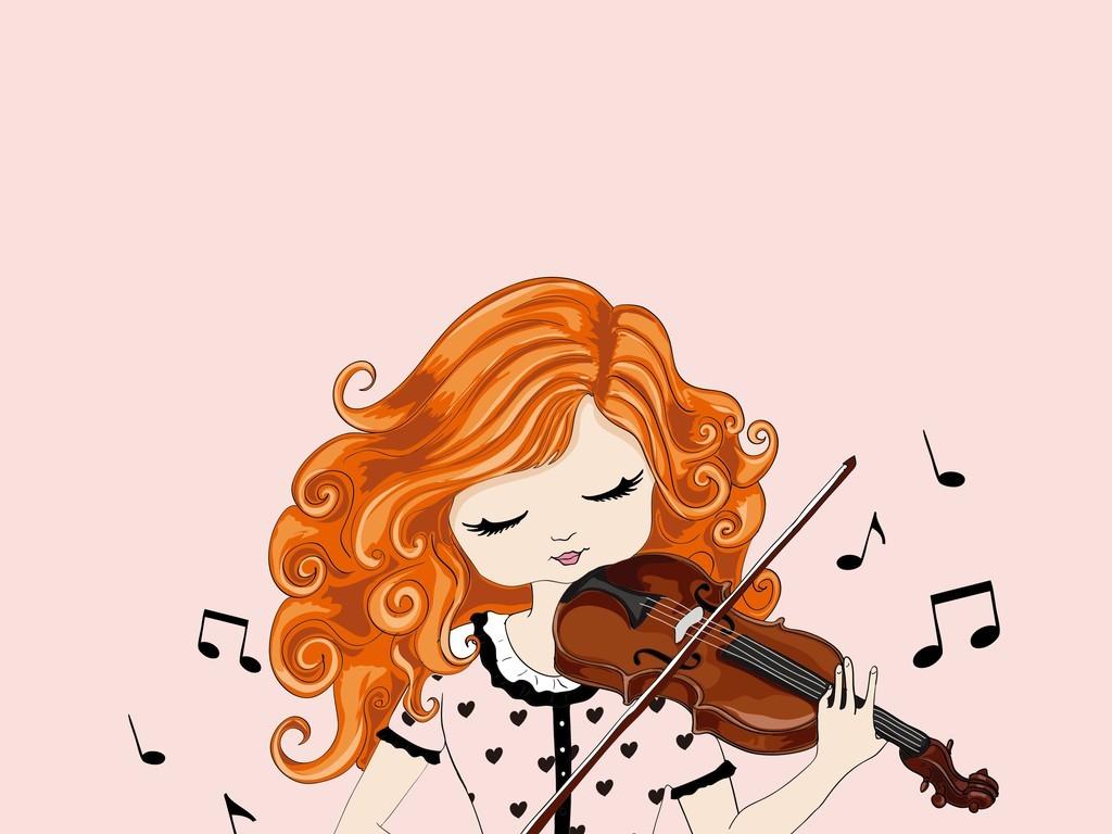拉小提琴的小女孩矢量图儿童美女图片