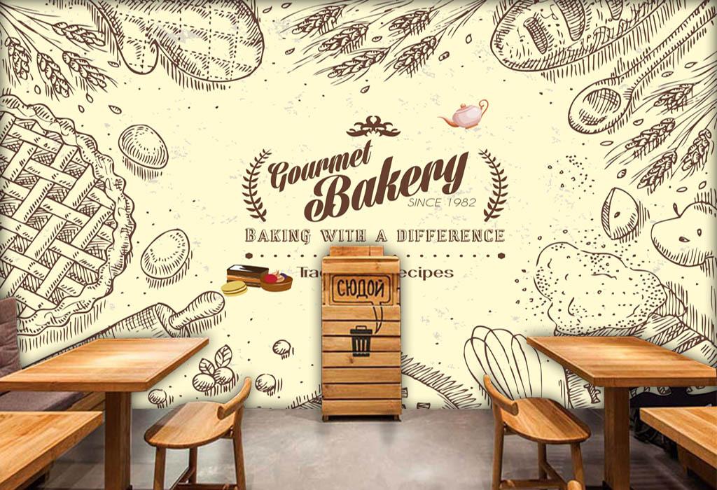 欧式酒吧咖啡店下午茶蛋糕店面包英文黄色小麦欧美背景面包店下午电视