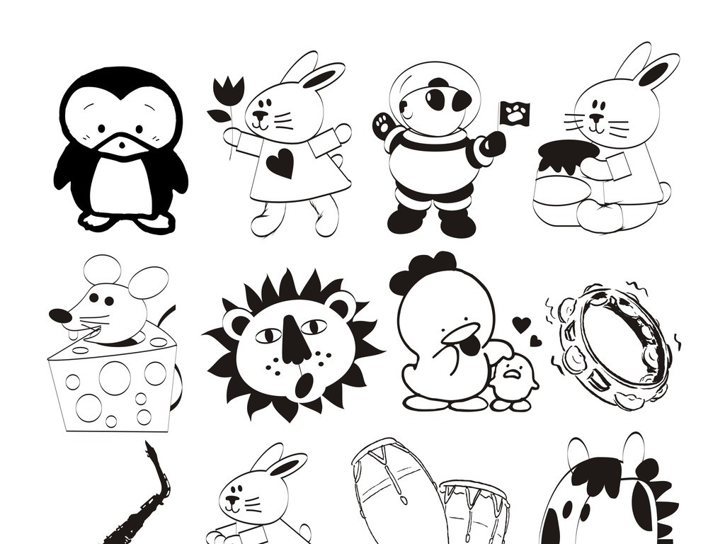 设计作品简介: 卡通动物简笔画插画音乐器材 矢量图, cmyk格式高清