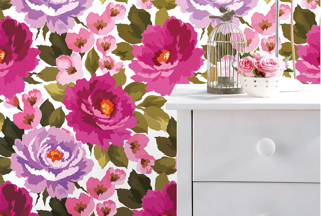 设计作品简介: 印象手绘花朵月季花墙纸壁纸 矢量图, rgb格式高清大图