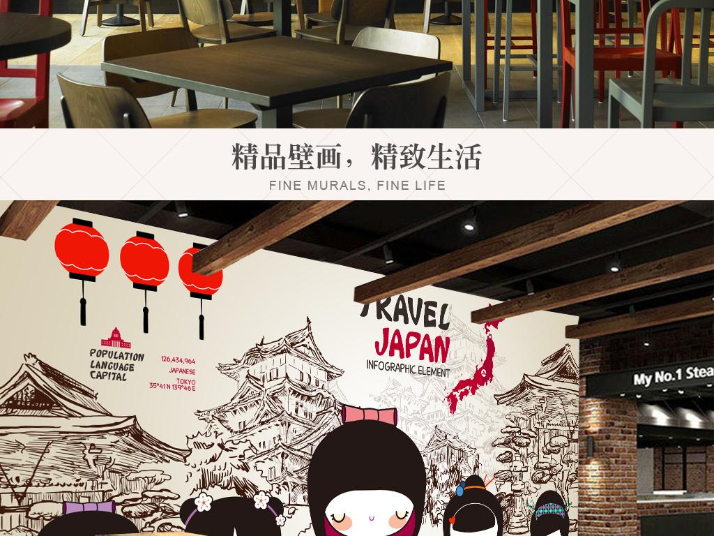 手绘卡通和服少女仕女日本料理寿司店背景墙