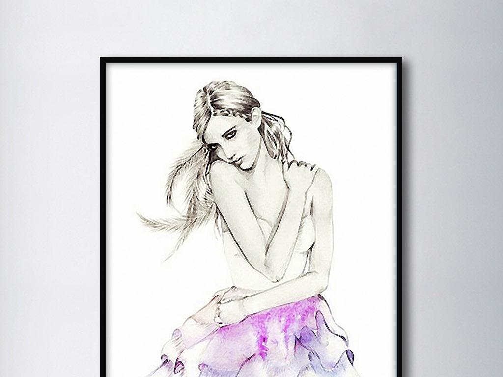 穿裙子的女人欧式时尚人物手绘现代装饰画